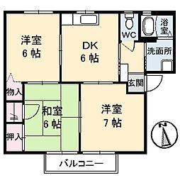 シャーメゾン橋田 C棟[101号号室]の間取り