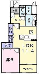 鳥取県鳥取市河原町長瀬の賃貸アパートの間取り