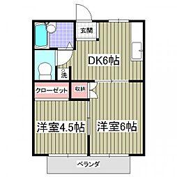 坂本ハイツB[1階]の間取り