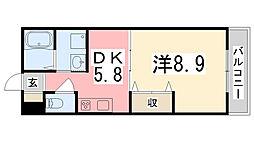 兵庫県姫路市東延末2の賃貸マンションの間取り
