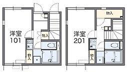 東京都三鷹市牟礼2丁目の賃貸アパートの間取り