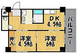 福岡県北九州市小倉北区砂津2の賃貸マンションの間取り