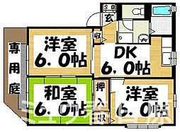 福岡県春日市下白水北5丁目の賃貸アパートの間取り