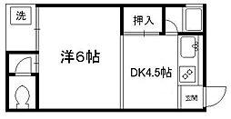 京都府京都市東山区今熊野南日吉町の賃貸アパートの間取り
