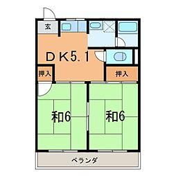 ユニオンハイツ八橋C[203号室]の間取り