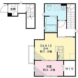 東京都中野区南台1丁目の賃貸アパートの間取り
