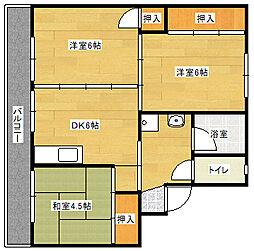 ビレッジハウス直方東 3号棟[404号室]の間取り