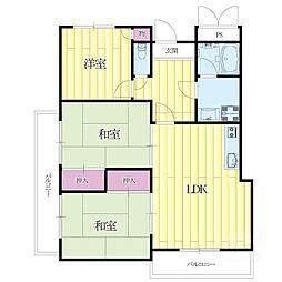 柿の木マンション[1階]の間取り