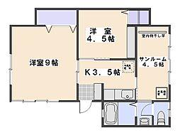 広島県広島市佐伯区楽々園5丁目の賃貸マンションの間取り