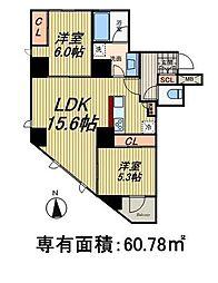 都営大江戸線 新御徒町駅 徒歩2分の賃貸マンション 3階2LDKの間取り