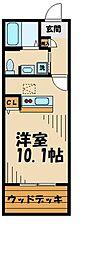 京王相模原線 多摩境駅 徒歩5分の賃貸アパート 1階ワンルームの間取り