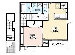 福岡県北九州市小倉北区上富野4丁目の賃貸アパートの間取り