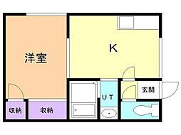 レジデンス・ワタナベ 2階1DKの間取り