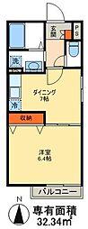 JR高崎線 尾久駅 徒歩7分の賃貸アパート 1階1DKの間取り