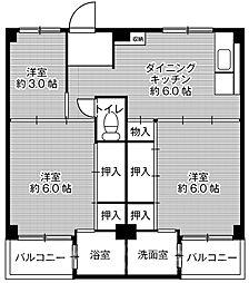 ビレッジハウス葛ノ葉2号棟[4階]の間取り