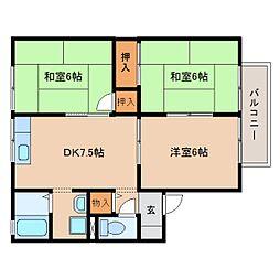 静岡県焼津市小川新町の賃貸アパートの間取り