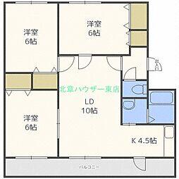 北海道札幌市東区東雁来八条1丁目の賃貸マンションの間取り