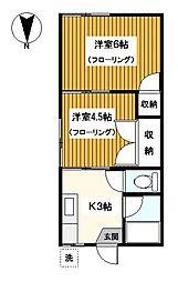 神奈川県横浜市鶴見区市場上町の賃貸アパートの間取り