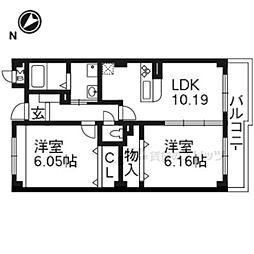 JR東海道・山陽本線 膳所駅 徒歩19分の賃貸マンション 1階2LDKの間取り