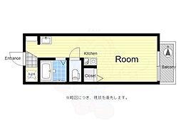 京王線 芦花公園駅 徒歩6分の賃貸アパート 3階1Kの間取り