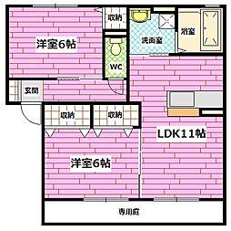 広島県広島市安佐南区伴中央5丁目の賃貸アパートの間取り