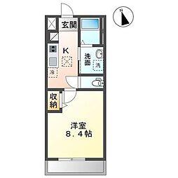 袖ケ浦市蔵波台4丁目新築アパート 1階1Kの間取り
