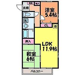 愛媛県松山市余戸中2丁目の賃貸マンションの間取り