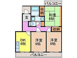静岡県富士市横割の賃貸マンションの間取り