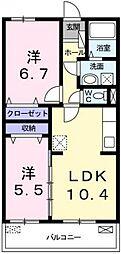 兵庫県姫路市御国野町御着の賃貸マンションの間取り