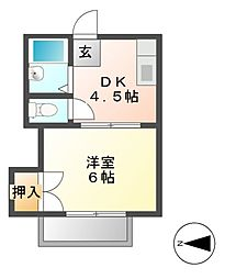 愛知県名古屋市中村区日ノ宮町3の賃貸アパートの間取り