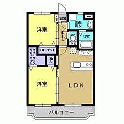 JR日豊本線 錦江駅 徒歩13分の賃貸マンション 2階2LDKの間取り