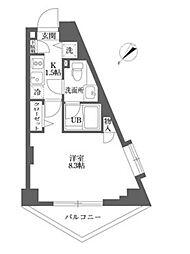 東京都新宿区戸山3丁目の賃貸マンションの間取り