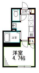 JR中央本線 荻窪駅 徒歩7分の賃貸マンション 2階1Kの間取り