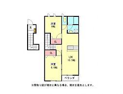 愛知県一宮市瀬部字堂浦の賃貸アパートの間取り