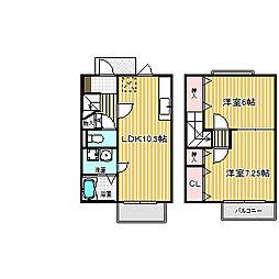 愛知県名古屋市中川区下之一色町字権野の賃貸アパートの間取り