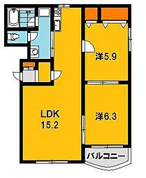 ミヤビタウン A[102号室]の間取り
