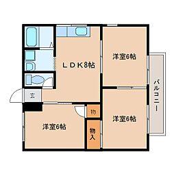 静岡県静岡市駿河区北丸子の賃貸アパートの間取り