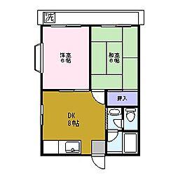 東京都足立区六木4丁目の賃貸アパートの間取り