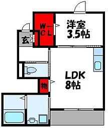 仮称)古賀市中央2丁目アパート[102号室]の間取り