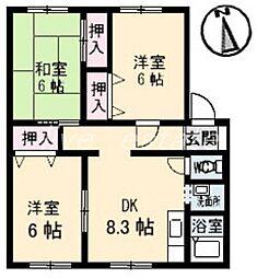 サンビレッジ高松 J棟[1階]の間取り