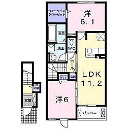 ル・ベリエ 2階2LDKの間取り