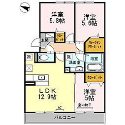 ベルメゾン古賀島[3階]の間取り
