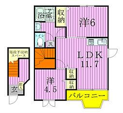 千葉県松戸市小金きよしケ丘5の賃貸アパートの間取り