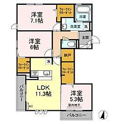 広島県福山市引野町2丁目の賃貸アパートの間取り
