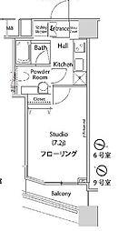 JR山手線 新宿駅 徒歩8分の賃貸マンション 15階1Kの間取り
