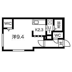 札幌市営東西線 バスセンター前駅 徒歩6分の賃貸マンション 2階1Kの間取り