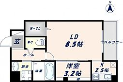 ベリーウェルIII 10階1LDKの間取り