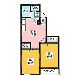 グローヒル153[2階]の間取り