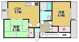 大阪府大阪市西淀川区佃3丁目の賃貸アパートの間取り