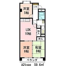 リバーサイド横地[3階]の間取り